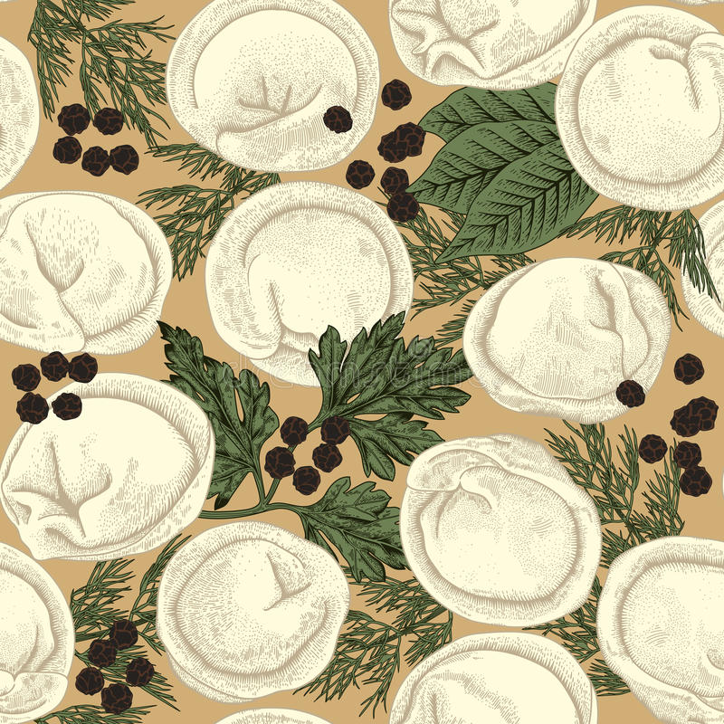 Pelmeni. Seamless background. Meat dumplings. Food. Dill, parsley, black pepper, bay leaf. Cooking. National dishes. Dinner. Products from the dough and meat stock illustration