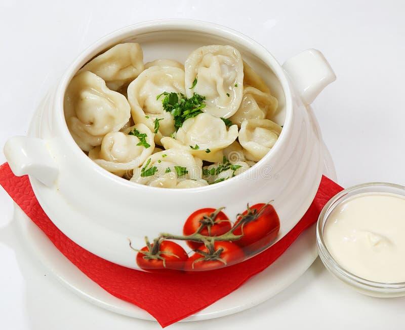 Pelmeniravioli met de hand gemaakt met kip en paddestoelen royalty-vrije stock afbeelding