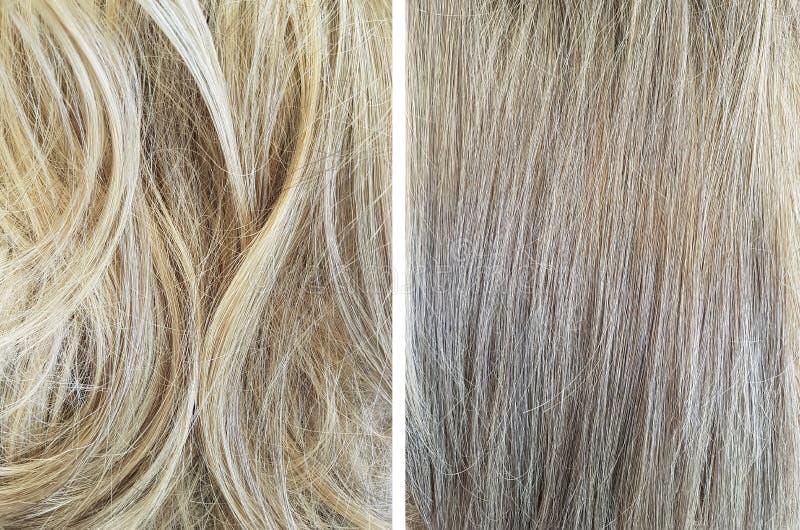 pelo antes y después de nivelar el condicionamiento fotos de archivo