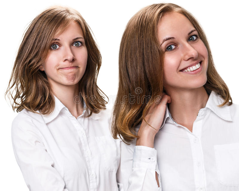 Pelo antes y después del tratamiento imagen de archivo