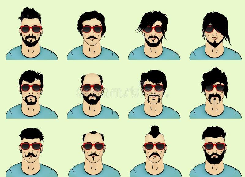 Pelo, barba y bigote stock de ilustración