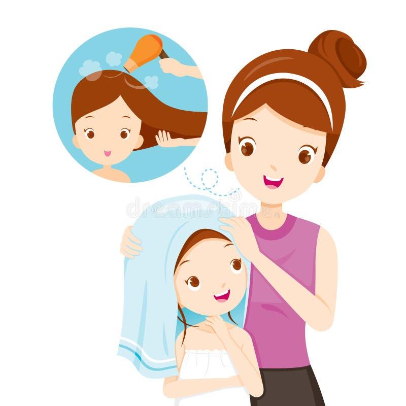 Pelo de la hija de la frotación de la madre con la toalla libre illustration