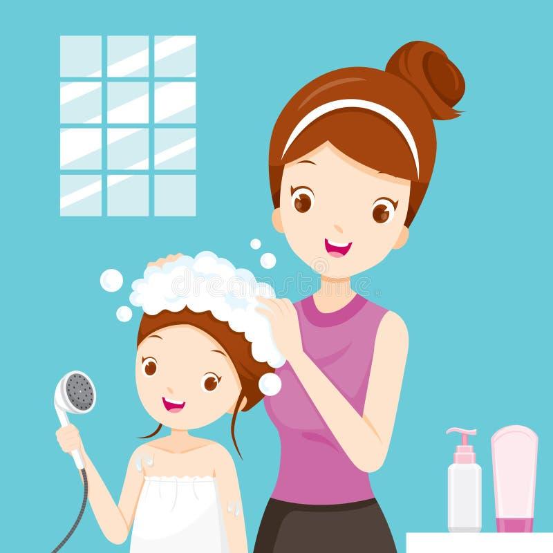 Pelo de la hija de la madre que se lava en cuarto de baño stock de ilustración