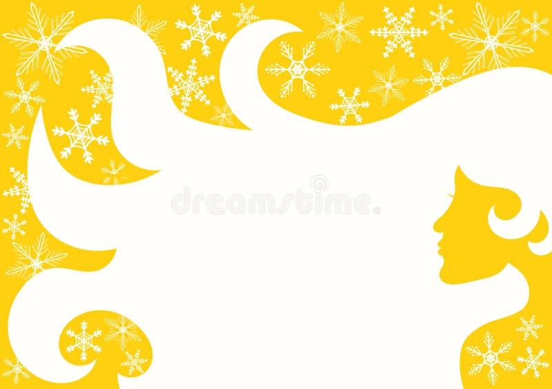 Pelo de la mujer del invierno de Sun del hockey shinny stock de ilustración