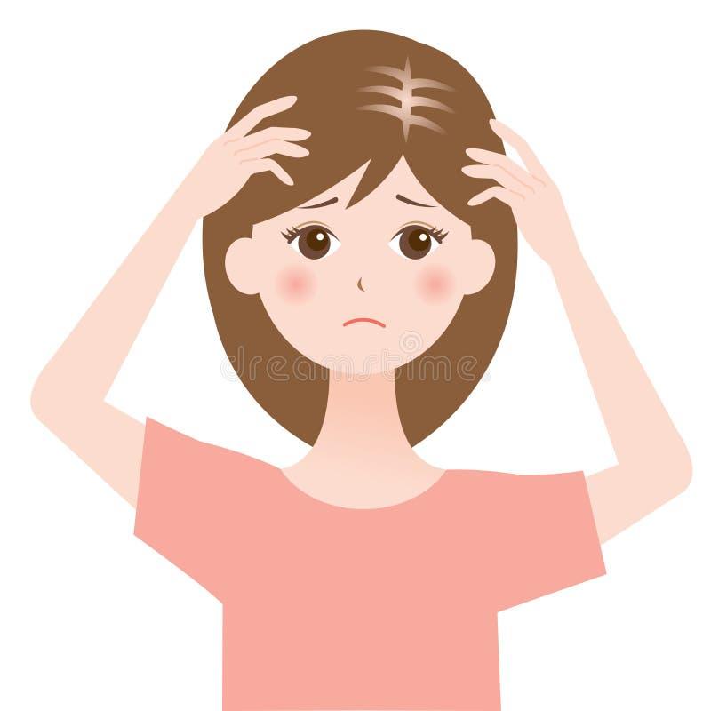 Pelo de reducción y pérdida de pelo femenina libre illustration