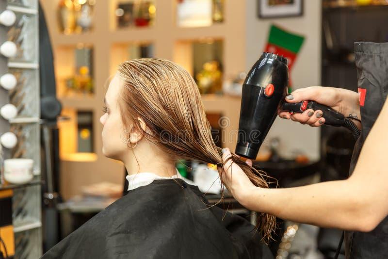 Pelo de teñido del peluquero profesional de su cliente en salón Cabello seco del peluquero con más hairdrier Foco selectivo imagen de archivo