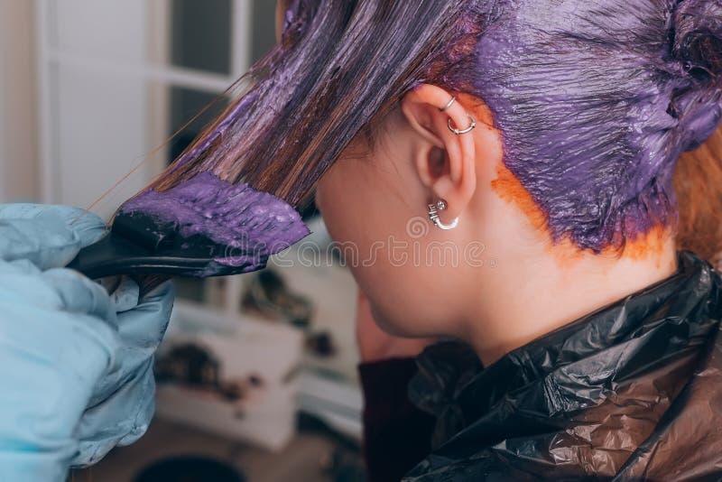 Pelo de teñido del peluquero profesional de su cliente en salón Foco selectivo fotos de archivo libres de regalías