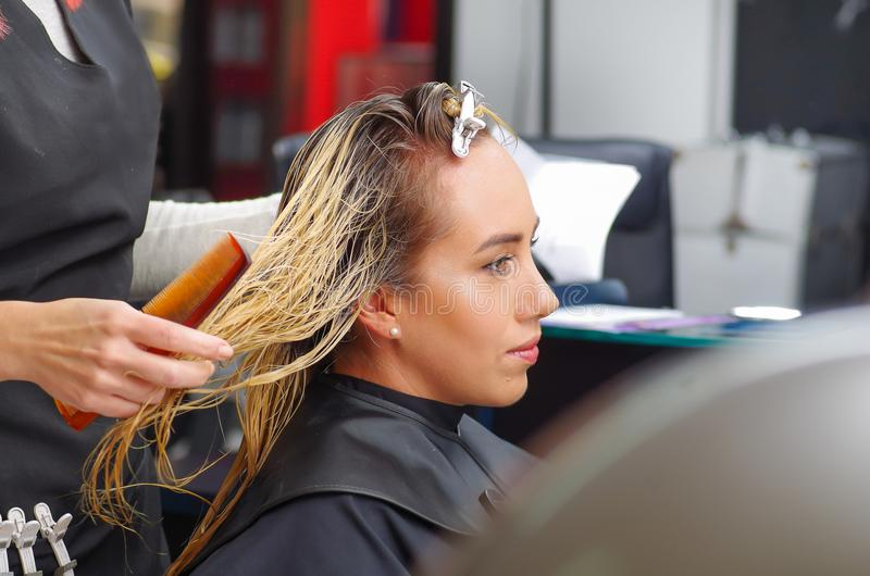Pelo del ` s del cliente del corte del peluquero en salón de belleza imagenes de archivo