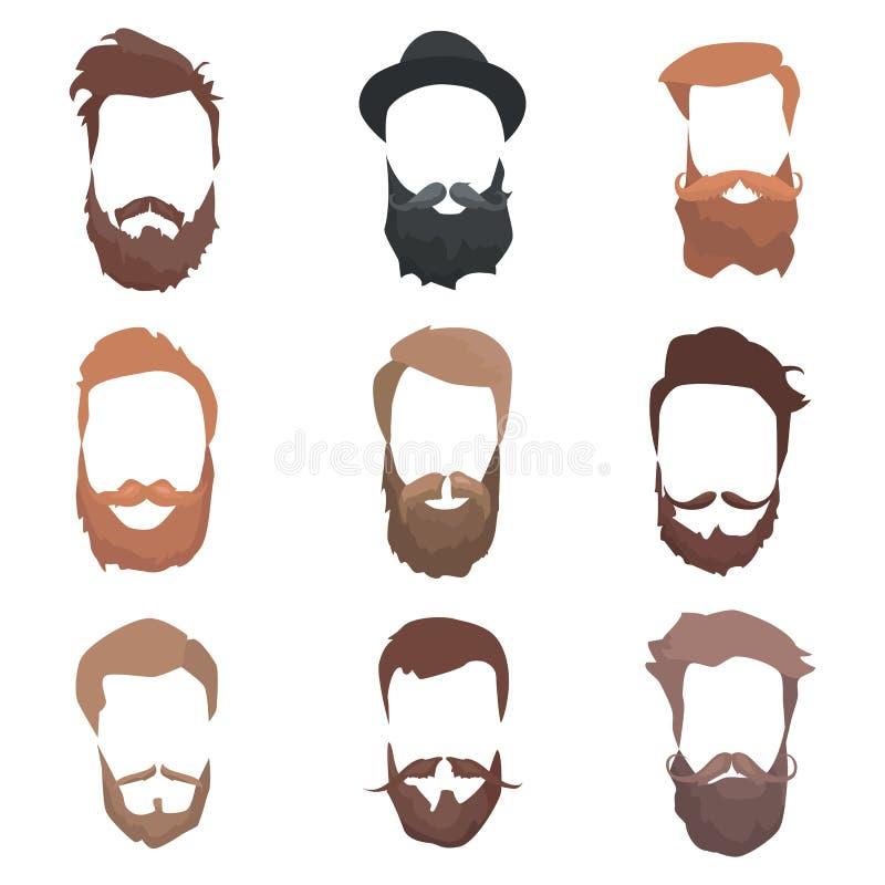 Pelo detallado y barbas del inconformista fijados Hombre barbudo de la moda Barba larga con el facial Vector aislado en el fondo  ilustración del vector