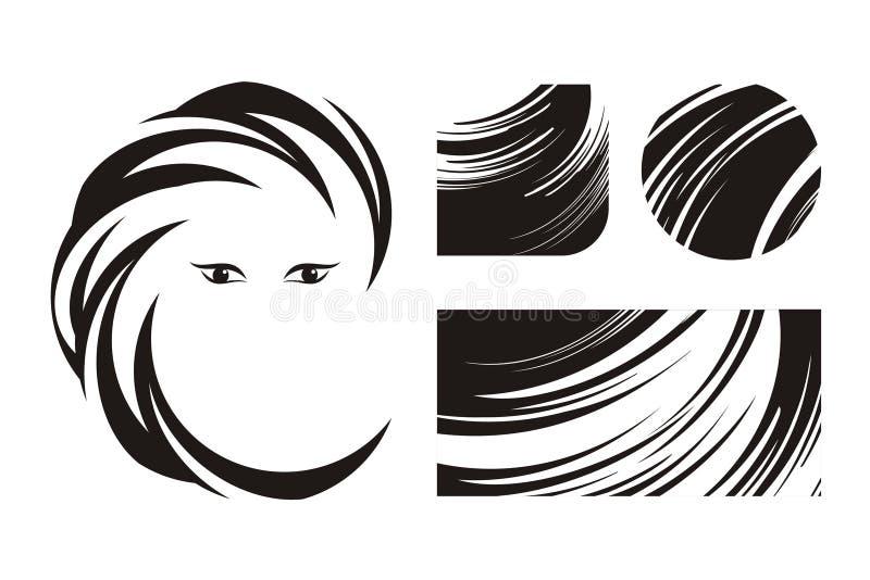 Pelo e insignias o iconos de la belleza stock de ilustración