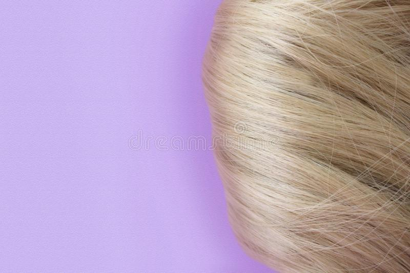 Pelo hermoso Pelo marr?n claro El pelo recolectó en un bollo en un fondo de la lila con el espacio libre para el texto Para un ca fotografía de archivo libre de regalías