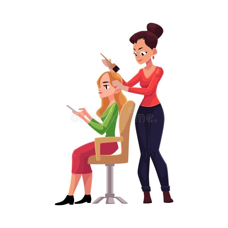 Pelo largo de muerte del peluquero de la mujer rubia que utiliza smartphone libre illustration