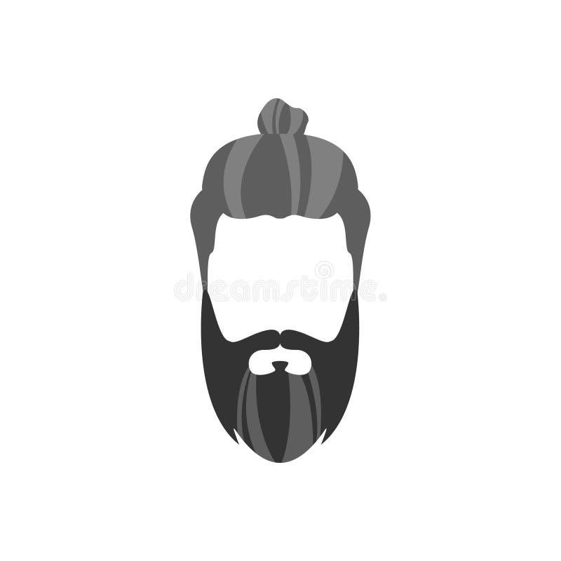 Pelo masculino del inconformista y estilo facial con el bollo largo de la barba stock de ilustración
