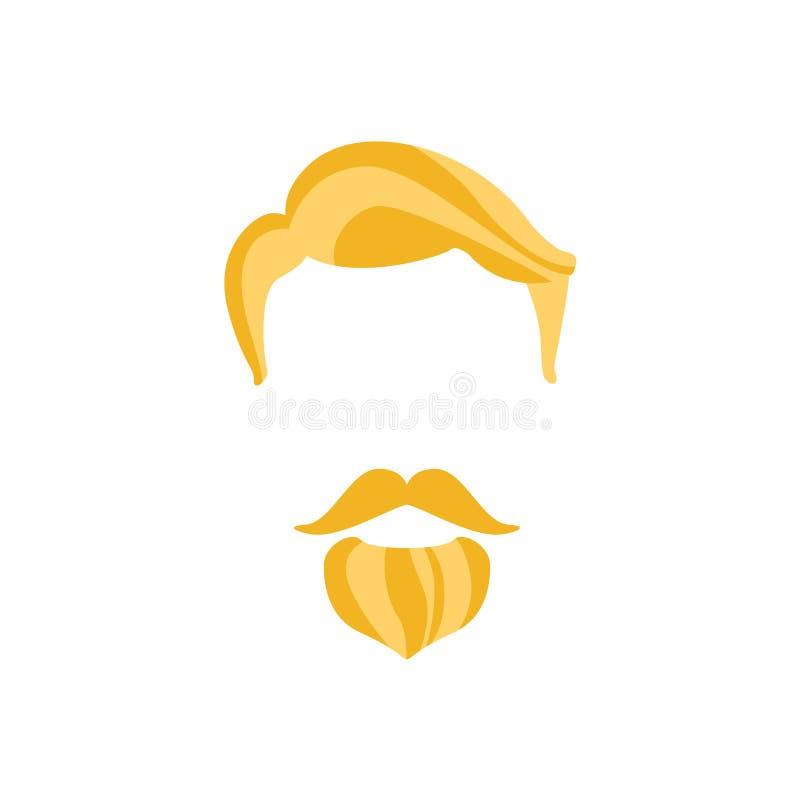 Pelo masculino del inconformista y estilo facial con la barba imperial libre illustration