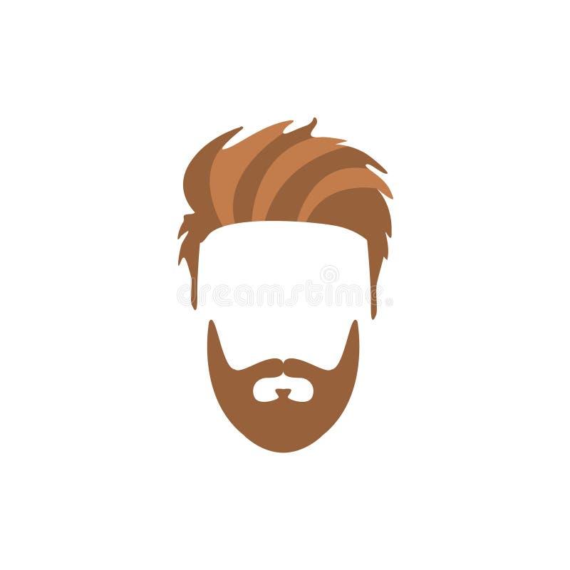 Pelo masculino del inconformista y estilo facial con la barba llena del bigote de Staline ilustración del vector