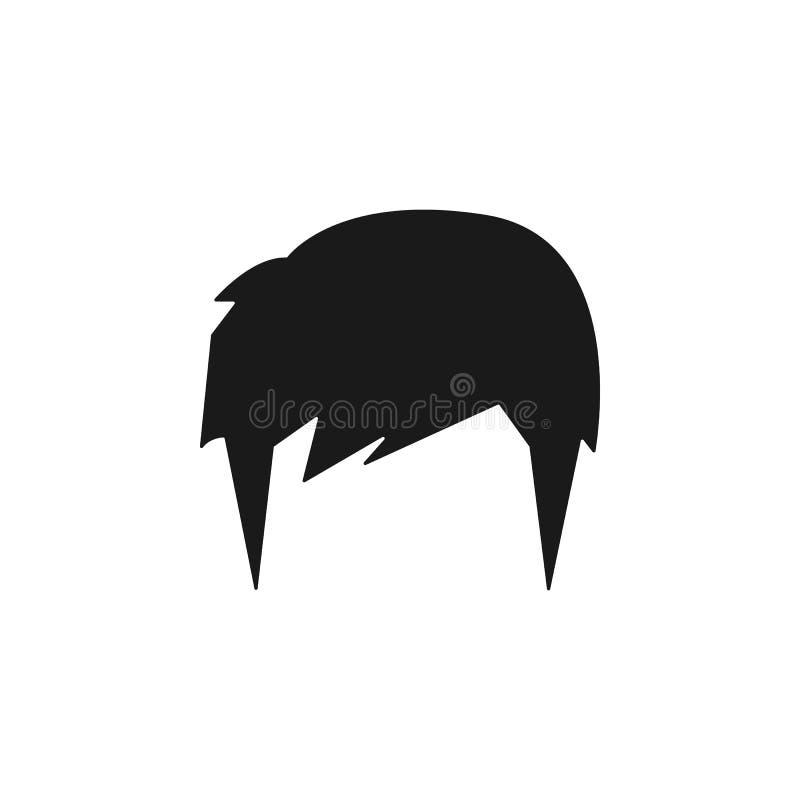 pelo, mujer, corte de pelo, icono de la pelusa stock de ilustración