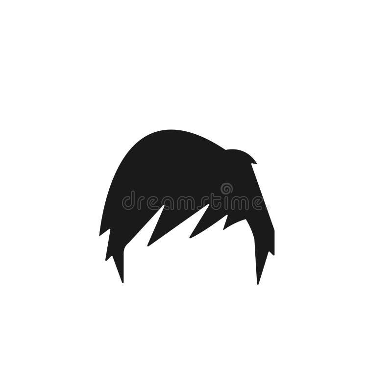 pelo, mujer, corte de pelo, icono lateral de la franja stock de ilustración