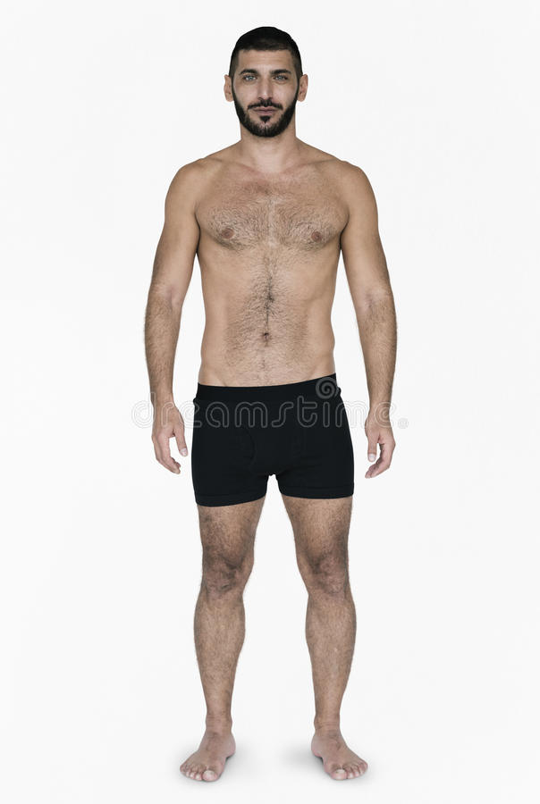 Pelo negro caucásico On White Background modelo masculino foto de archivo
