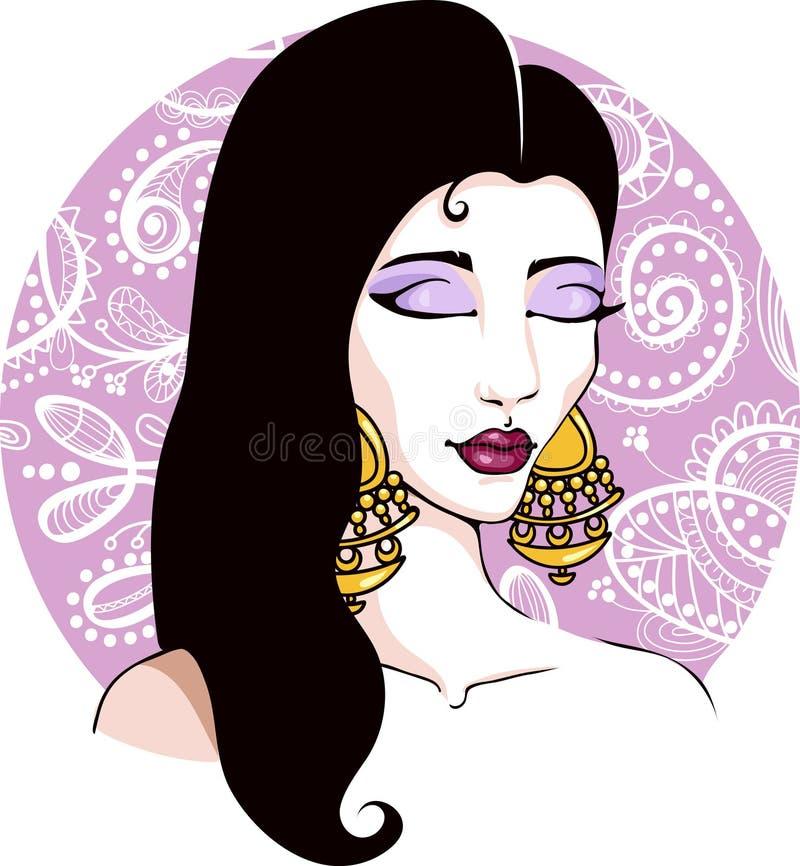 Pelo oscuro de la muchacha bonita india gitana con los pendientes y fondo oriental - Vector el ejemplo de la moda ilustración del vector