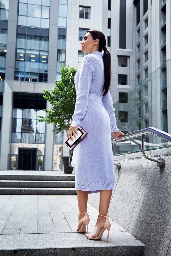 Pelo oscuro largo modelo femenino elegante de la moda atractiva hermosa imagen de archivo libre de regalías