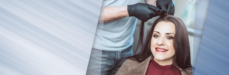 Pelo que colorea del peluquero; bandera panorámica fotos de archivo libres de regalías