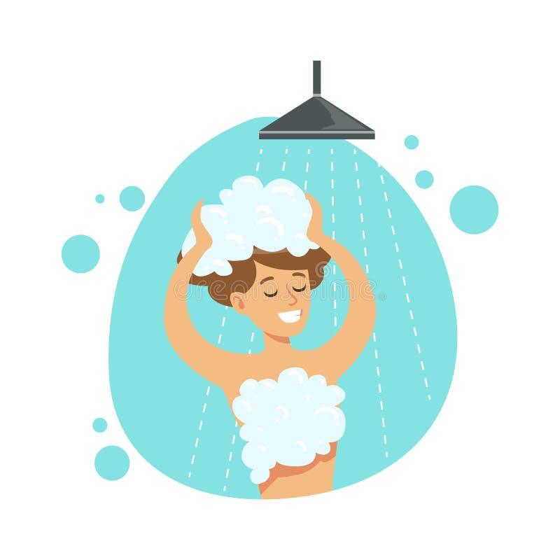 Pelo que se lava de la muchacha en la ducha, parte de gente en el cuarto de baño que hace su serie rutinaria de los procedimiento ilustración del vector