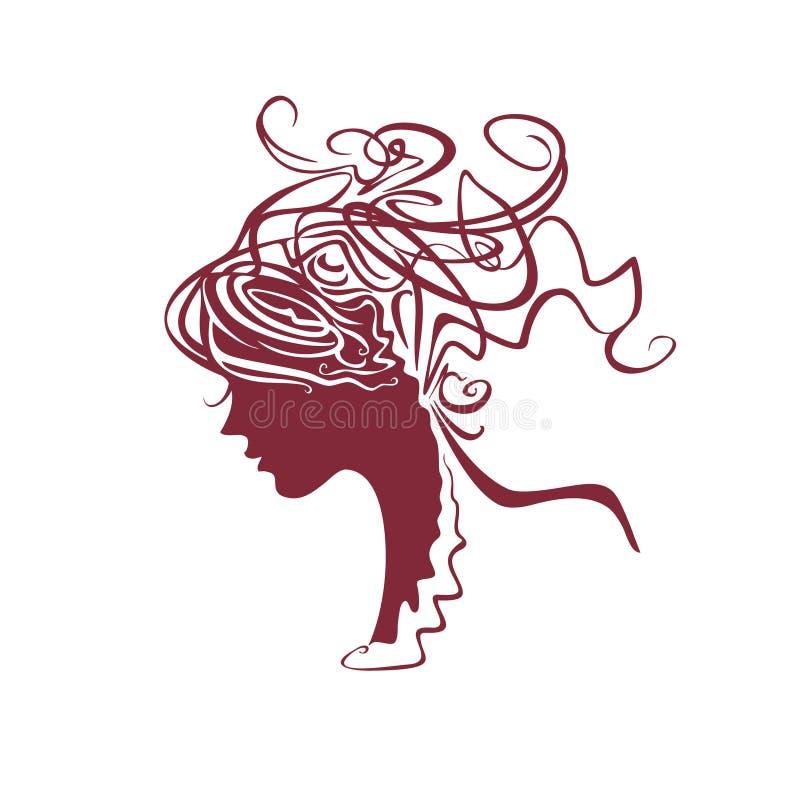 Pelo rizado de la muchacha hermosa Perfil linear del ejemplo de una cabeza femenina stock de ilustración