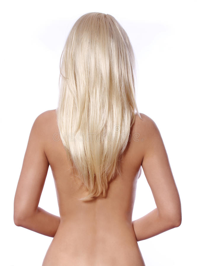 Pelo rubio, lado trasero de la mujer joven con el pelo rubio recto aislado fotografía de archivo