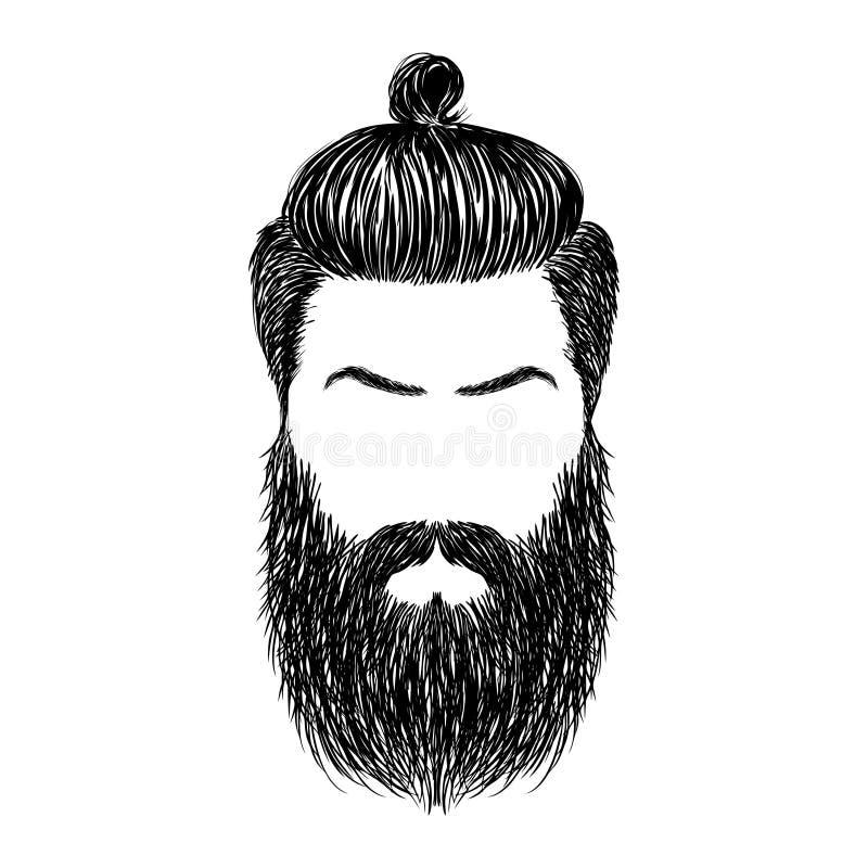Pelo y barbas ilustración del vector