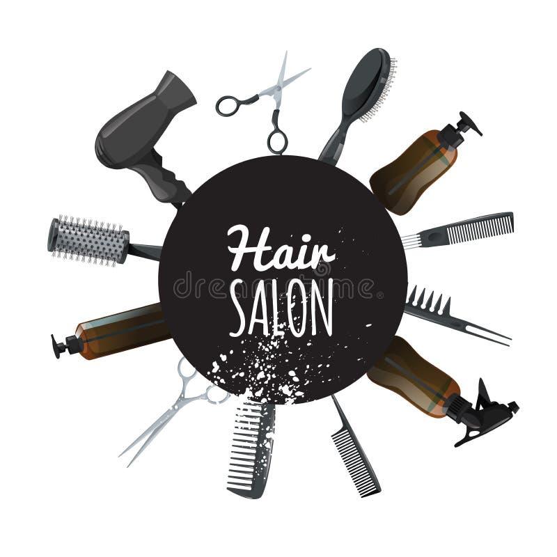Pelo y cartel del salón de belleza con los accesorios negros del círculo y del pelo Herramientas profesionales de los peluqueros  stock de ilustración