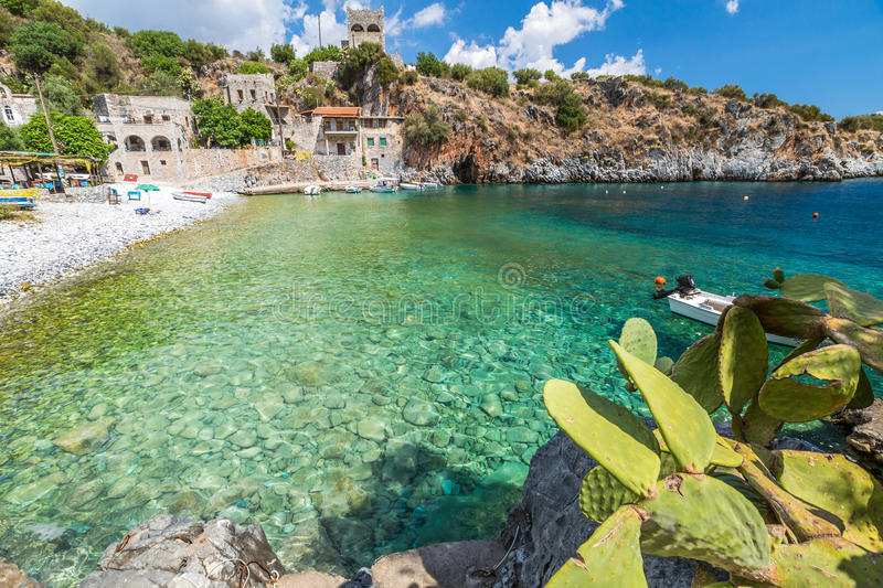 Peloponnese Harbour. Spectacular landscape of Alypa Beach, Mania Peninsula, Lakonia, Peloponnese, Greece, a beautiful stone beach with a transparent and stock images