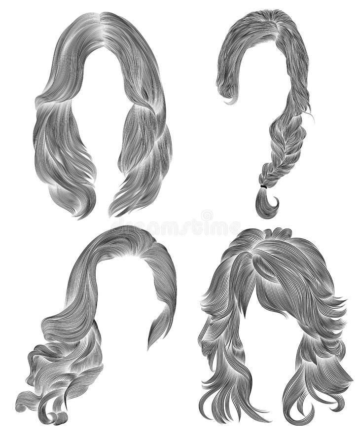 Pelos largos determinados de la mujer bosquejo negro del dibujo de l?piz estilo de la belleza de la moda de las mujeres la franja libre illustration