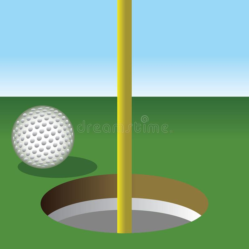 Pelota de golf alrededor a conseguir en el agujero libre illustration