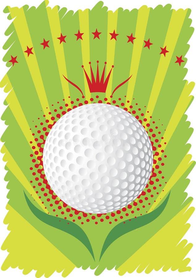 Pelota de golf con la corona y las estrellas rojas Cartel verde del golf libre illustration