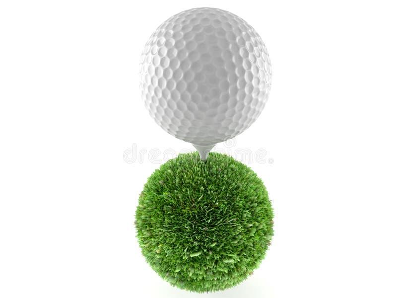 Pelota de golf con la esfera de la hierba ilustración del vector