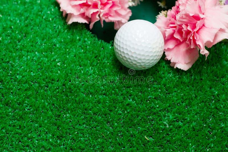 Pelota de golf con la flor del clavel en hierba verde fotos de archivo