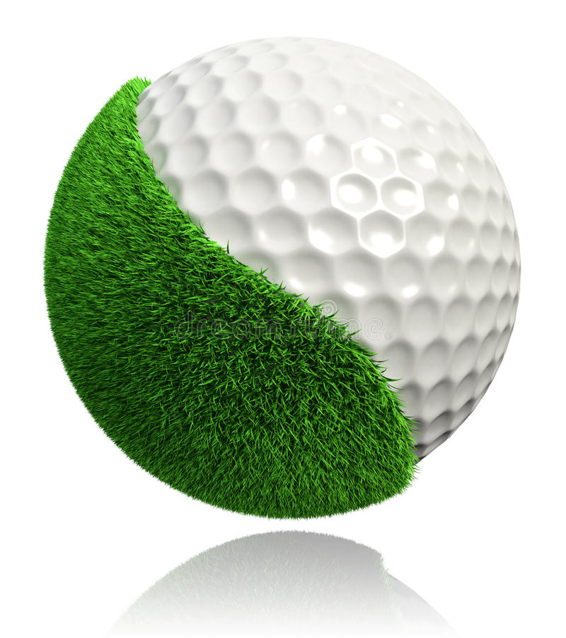 Pelota de golf con la hierba verde ilustración del vector