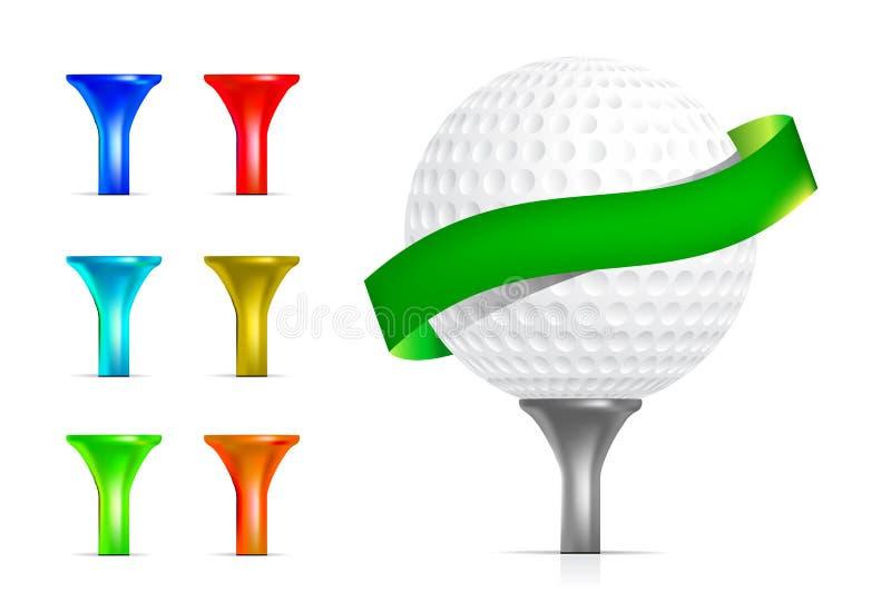 Pelota de golf con la te   stock de ilustración