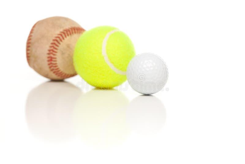 Pelota de golf del béisbol, del tenis y en blanco imagenes de archivo