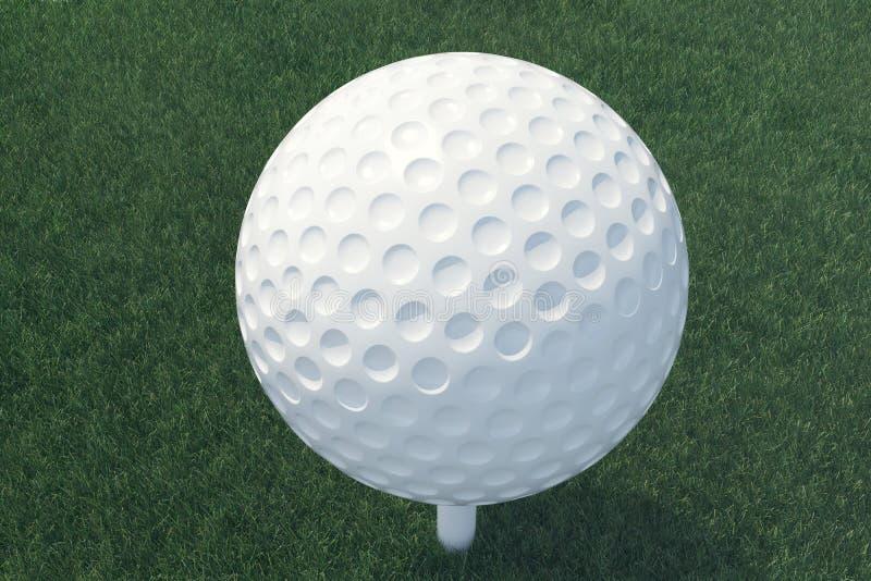 pelota de golf del ejemplo 3D y bola en la hierba, cierre encima de la opinión sobre la camiseta lista para ser tiro Opinión supe fotos de archivo