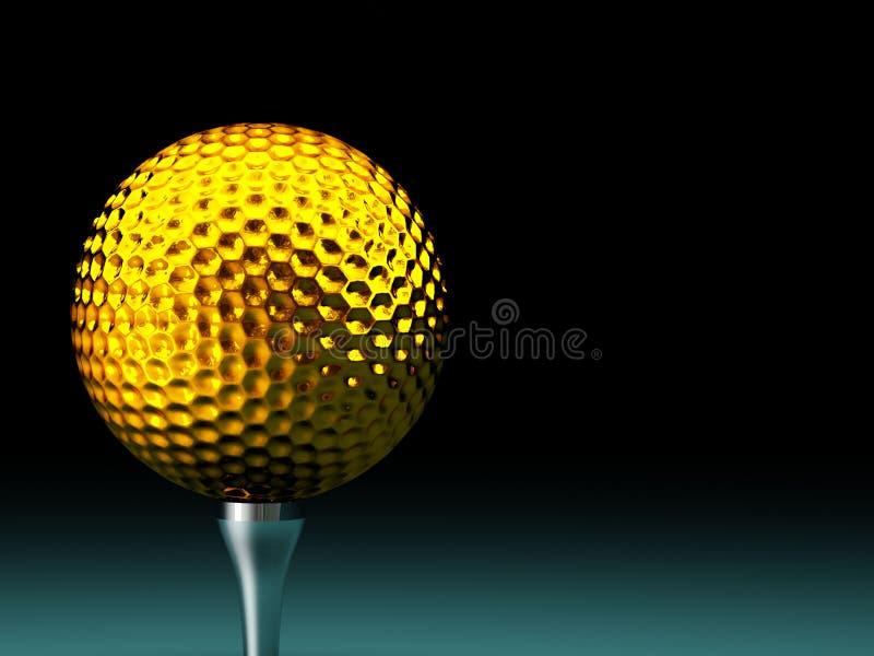 Pelota de golf del oro ilustración del vector