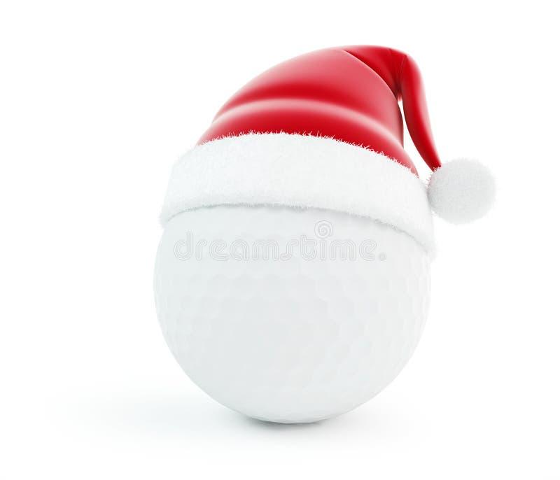 Pelota de golf del sombrero de Santa stock de ilustración