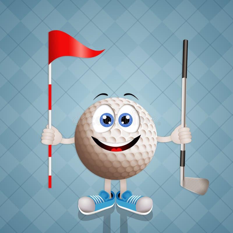 Pelota de golf divertida con el club y la bandera stock de ilustración