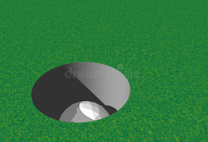 Pelota de golf en agujero ilustración del vector