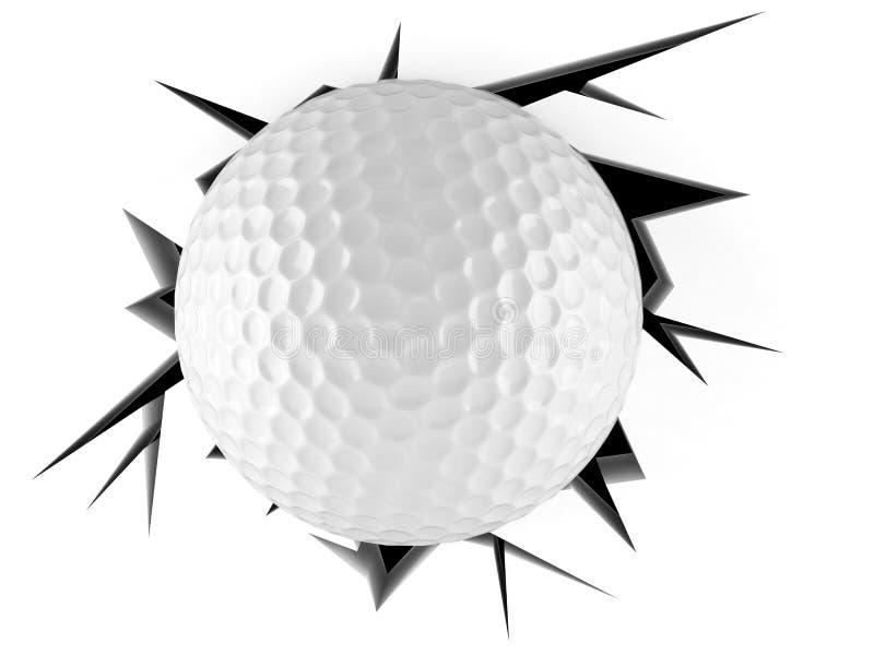 Pelota de golf en agujero agrietado ilustración del vector