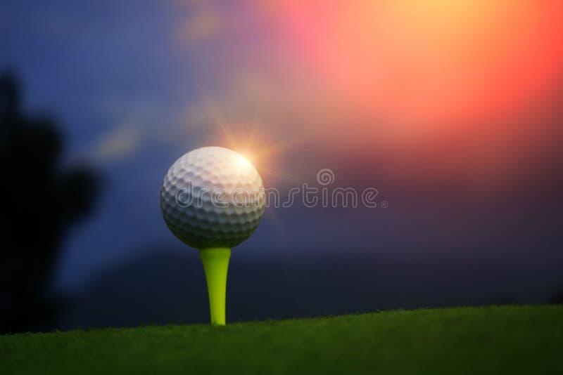 Pelota de golf en camiseta en campo de golf hermoso en el fondo de la puesta del sol fotografía de archivo