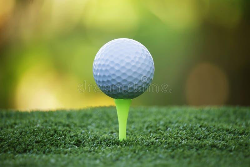 Pelota de golf en camiseta en campo de golf hermoso en la puesta del sol fotos de archivo libres de regalías