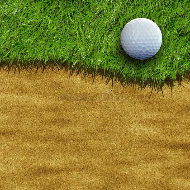 Pelota de golf en campo stock de ilustración