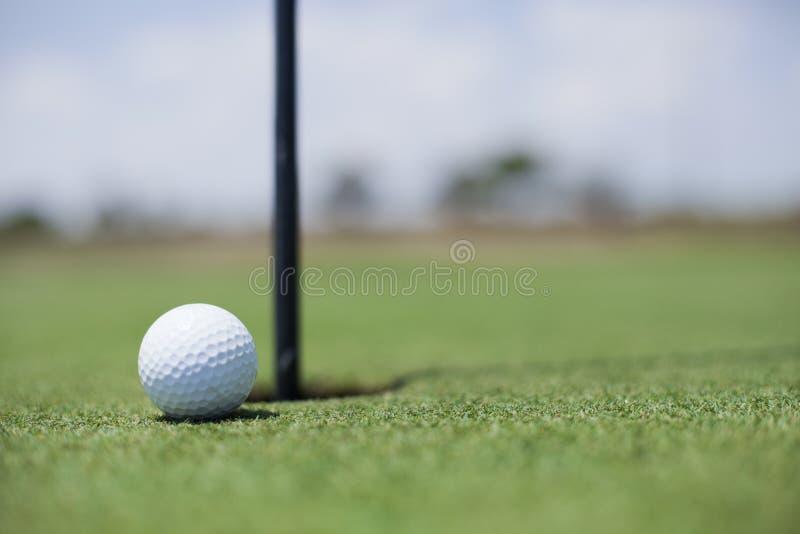 Pelota de golf en el agujero fotos de archivo