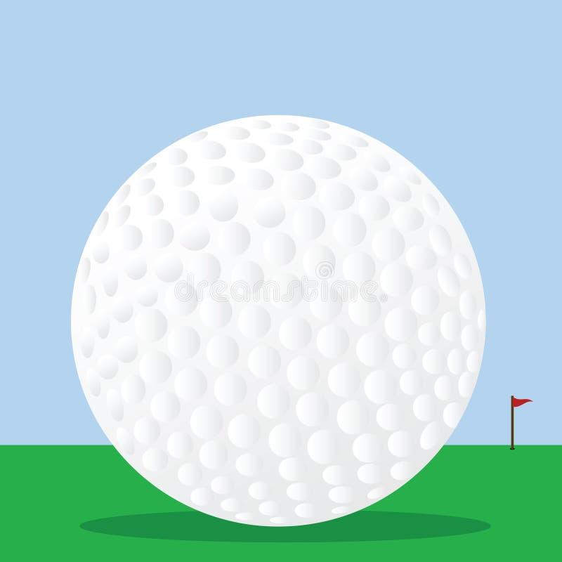 Pelota de golf en el curso ilustración del vector